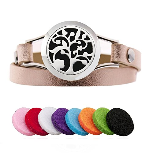 Aroma Essential Oil Diffuser Bracelet - Stainless Steel Aromatherapy Locket Bracelets Leather Band with 8 Color Pads Jewelry Gift Set for Women