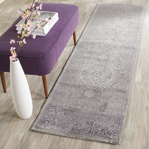 Safavieh Passion Collection PAS402G Oriental Vintage Watercolor Grey and Lavender Distressed Runner (2'2