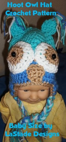 Crochet Pattern For Hoot Owl Baby Hat With Ear Flaps Size 6 To 12