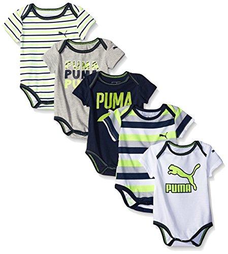 PUMA Baby Boys' 5 Pack Bodysuit Pack, Light Heather Grey, 6/9M