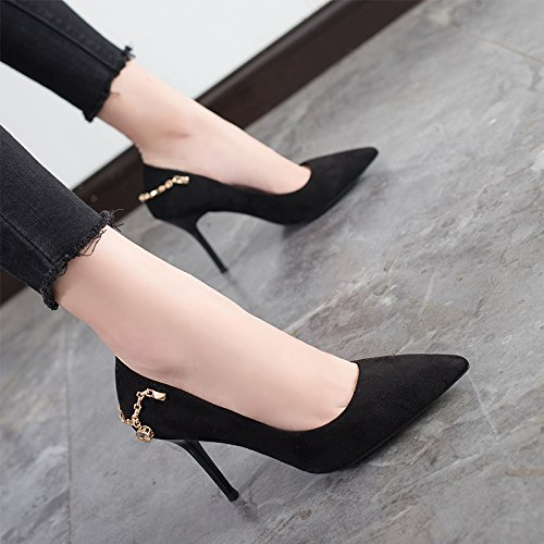 Heeled Fine Lady MDRW Shoes Spring High 9Cm Occupation Sexy Black Shoes Work Pointed Leisure Shoes Match Elegant 35 With All BOdwOq8