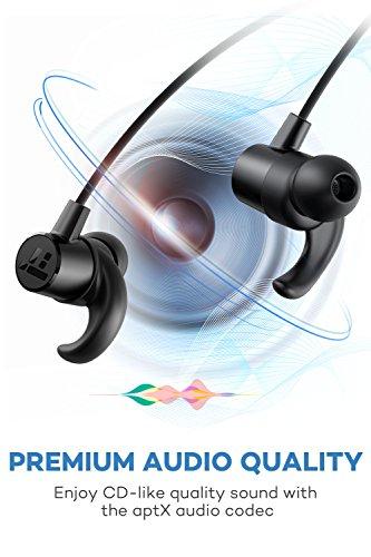 Bluetooth Headphones Taotronics Sweatproof Wireless Headset Sports Earphones 8 Hours 4.2 Magnetic Earbuds(ipx6 Waterproof, Aptx Stereo, Cvc 6.0 Noise Cancelling Mic) (Black)
