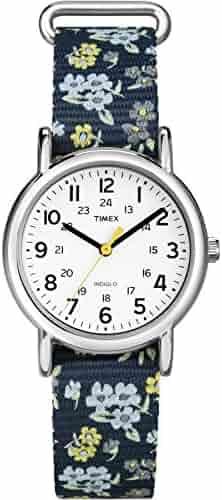 Timex Women's T2P370 Weekender Blue Floral Nylon Slip-Thru Strap Watch