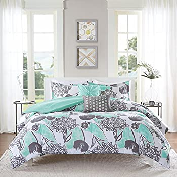 Amazon Com 4 Piece Girls Mint Grey Floral Theme Comforter