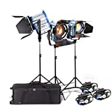Alumotech 650Watt+2X1000Watt+Dimmers+Stands 2650Watt Fresnel Tungsten Spotlight Halogen Lamp Studio Video Light Kit Air Cushioned Stands For Camera Lighting Compatible Bulb