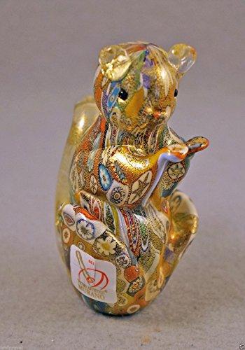 Murano Glass Murrina Squirrel Figurine Millefiori Authentic Italian Art Glass Hand Made on the Island of Murano New with Gold and Murano (Murano Glass Pig Figurine)
