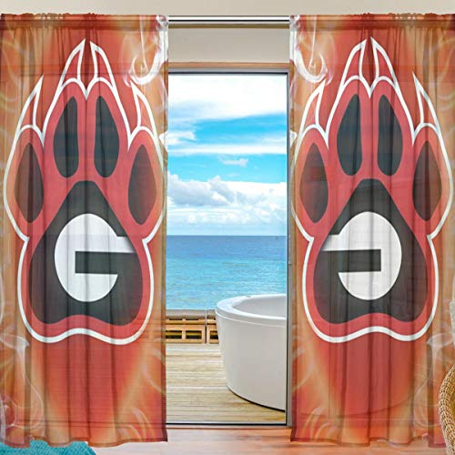 - SHELLBOY Creative Dog Sheer Window Curtains Voile Panels for Living Room Bedroom, 55