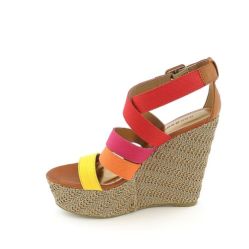 Bamboo Women Dorothy-06 Casual Wedge Rosso / Multicolore