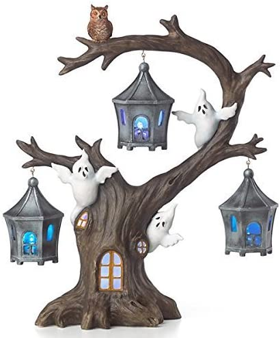 Lenox Halloween A Ghostly Ghoulish Halloween Lighted Tree with Ghosts and Owl 12 New