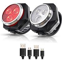 Hually LED Fietsver Lichting Set, USB Oplaadbare,4 Lichtmodi,Waterdichte Wit Fietslicht en Rood Achterlicht, 800mAh…