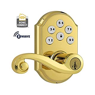 Kwikset 912 Z-Wave SmartCode Electronic Touchpad w/Lido Lever, featuring SmartKey in Polished Brass, Works with Alexa via Wink (B004EKQNTE) | Amazon price tracker / tracking, Amazon price history charts, Amazon price watches, Amazon price drop alerts