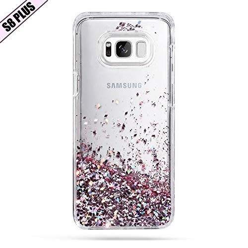 Galaxy S8 Plus Case, Caka Galaxy S8 Plus Glitter Case Luxury Fashion Bling Flowing Liquid Floating Sparkle Glitter TPU Bumper Case for Samsung Galaxy S8 Plus - (Rose Gold)