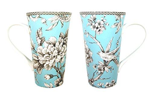 222 Fifth Adelaide Turquoise Fine Porcelain Tall Latte Mug