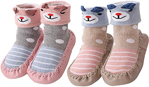 YUHUAWYH Baby Toddler Slipper Socks Warm Anti Slip Shoes First Walker Shoes for Boys Girls Age 0-6 Months to 4-5 Years