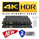 HDbaseT Extender Kit HDR HDMI 2.0B 18GBPS 4K @ 60hz Ethernet UltraHD YUV 4:4:4 Uncompressed 330FT 100M Transmitter Receiver IR RS232 CAT5e CAT6 HDCP2.2 CRESTRON CONTROL4 SAVANT HOME AUTOMATION 4K2K
