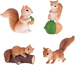 QTFHR 4 Pcs Squirrel Animal Figurine Ornament Home Ornament Decor, Garden Cake Top Decoration