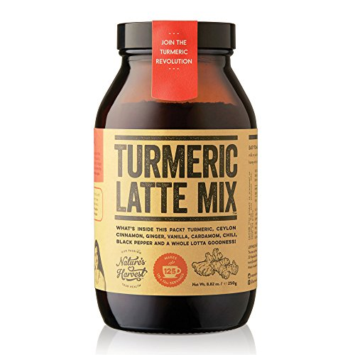 Nature's Harvest Turmeric Latte Mix - Organic Golden Milk Powder with Curcumin, Healthy Herb Blend for Coffee, Tea, Smoothies - Glass Jar - 125 Servings