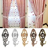 LTDD 2pcs Vintage Oval Curtain Hanger Tie Back Wall Mounted Hook Holder - Black