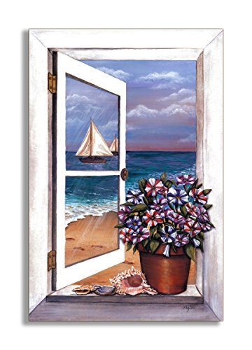 Stupell Home Décor Seascape With Petunias Faux Window Scene, 22 x 0.5 x 33, Proudly Made in - Seascape Window Faux