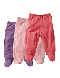 Babysoy Essential 3-Piece Footie Pant Set for Girls, Eggplant, Petal, Blossom, 3-6 months