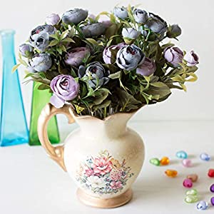 Artificial Flowers - 6 K Roses Bride Bouquet Christmas Home Wedding Year Decoration Fake Plants Artificial Flowers - White Large Eggplant Water Single Magnolia Mint Grey Babys Long Black Lily 109