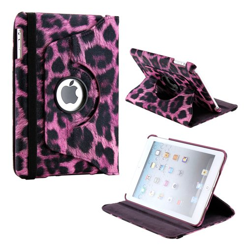Gearonic TM 360 Degree Rotating Stand Smart Cover PU Leather Swivel Case for Apple iPad Mini and 2013 iPad Mini with Retina Display (Wake/sleep Function) - Purple Leopard