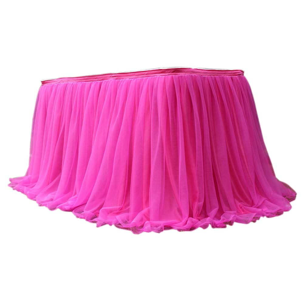 40 x 30inches Likense Tulle Light Pink Table Skirt for Round Or Rectangle Tables Dessert Tutu Table Skirting for Wedding Baby Shower Birthday Party Decorate 100 x 75cm