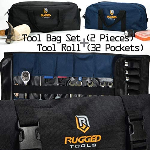 Rugged Tools Tool Roll Tool Bag Set – Rollup Tool Puch and Small Medium Tool Bag Set
