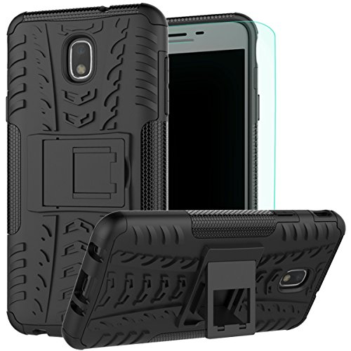 Galaxy J7 Refine Case with Screen Protector, Galaxy J7 2018 Case, J7 V 2nd Gen Case,J7 Star Case,J7 Aero Case,J7 Top Case, SM-J737A Case Kickstand,SunRemex for Samsung Galaxy J7 2018 (Black)