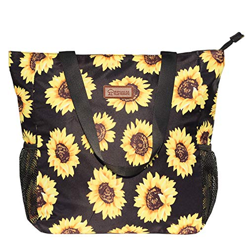 Original Floral Water Resistant Large Tote Bag Shoulder Bag for Gym Beach Travel Daily Bags Upgraded ([N] Sunflower)