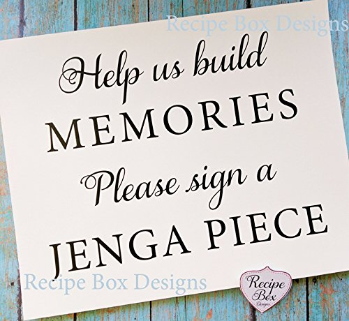 Help us build memories. Please sign a Jenga Piece. 8x10 Wedding Sign. Alternative Guest Book Sign Idea Jenga - Maps Invitation Wedding