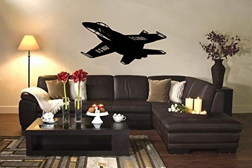 US Navy FA-18 Blue Angels Fighter Jet Airplane Silhouette Vinyl Wall Decal Sticker