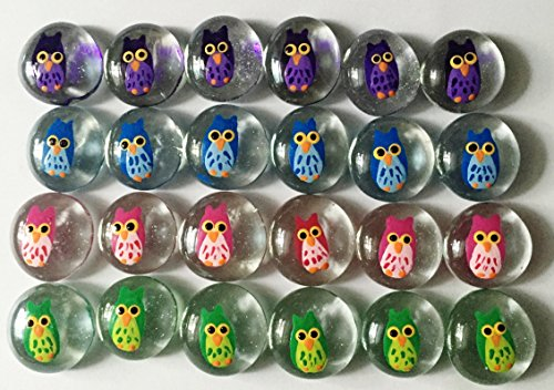Jazzy Glass Gems, Hand Painted Set of 24 - Party Supplies, Party Favor, Decoration, Crafts, etc., Owl -
