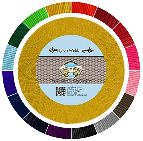 Country Brook Design - Gold 1 1/2 Inch Heavy Nylon Webbing (5 Yards)
