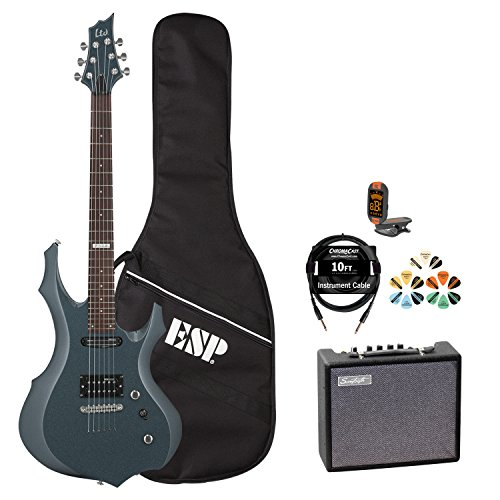 ESP-F-JB-F10KIT-GSB-KIT-5-Electric-Guitar-with-Tuner-Picks-ESP-Gig-Bag-Cable-and-Guitar-Amp-Gunsmoke-Blue