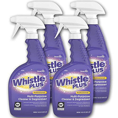 Diversey Whistle Plus Professional Multi-Purpose Cleaner and Degreaser, 32 oz. Capped Spray Bottle (4 Pack) - Multi Purpose Degreaser