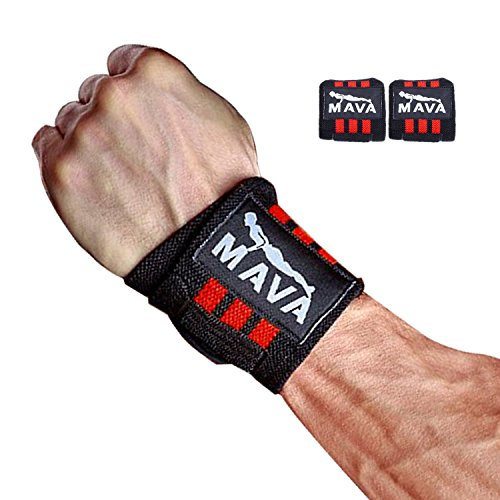 "(Mava Sports Double-Stitched Support Weightlifting Wrist Wraps for Painless Cleans, Heavy Lifting and Kettlebell, Unisex, 14"" Long, Red)"