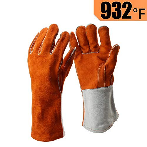 Welder Glove Tig Mig (Heavy Duty Thick Welding Gloves, Flexible Sturdy Large Cowhide Fireplace Gloves, High Heat Proof Fire Resistant Gloves For Arc, Tig, Stick, Mig Welding, By LifBetter (L))