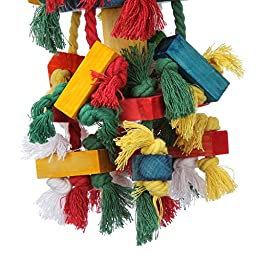 Parrot Toy,Pure Natural Colorful Knot and Block Rainbow Chewing Hanging Toy