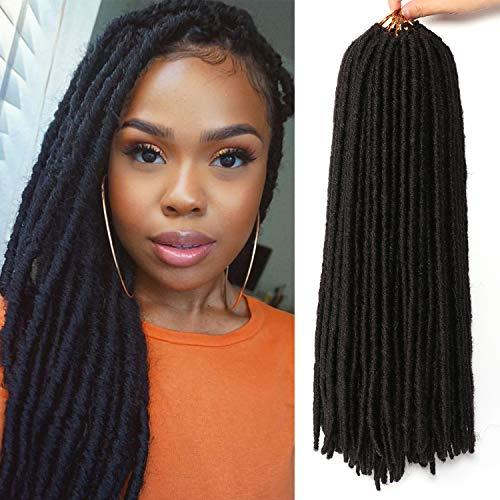 7 Packs Dreadlocs Faux Locs Hair Extensions 18 Inch Straight Goddess Locs Black Synthetic Crochet Hair Soft Crochet Braids (18 Inch, 1B#)