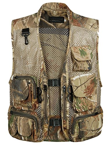 Zhusheng Men's Fishing Outdoor Utility Hunting Climbing Tactical Camo Mesh Removable Vest with Multi Pocket (X-Large, Desert)