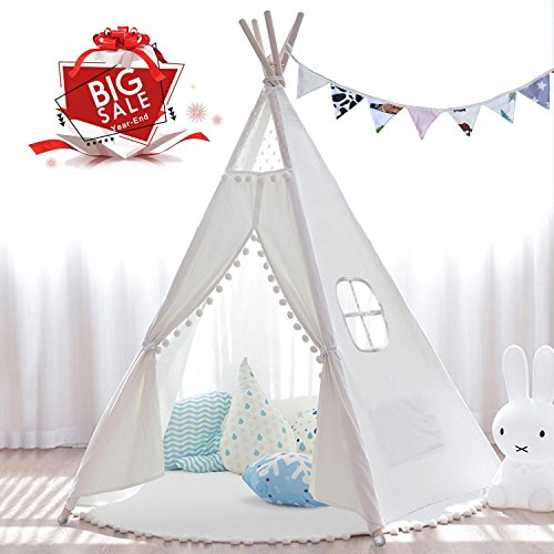 JOYNOTE Teepee Kids Tent 6' with Thick Mat & Carry Case & Decorations Star Stickers & Flag - 5 Wooden Poles Canvas Tipi (White) -