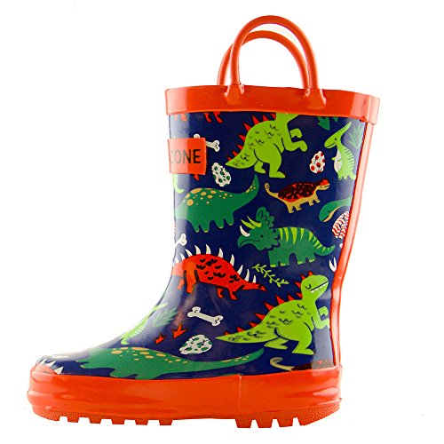 Waterproof Rubber Rain Boots in Fun Patterns with Easy-On Handles
