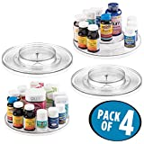 mDesign Spinning Two Tier Lazy Susan Turntable Storage Bin - Rotating Organizer for Vitamins, Supplements, Serums, Essential Oils, Medical Supplies, First Aid Supplies – 11'' Diameter, Pack of 4, Clear