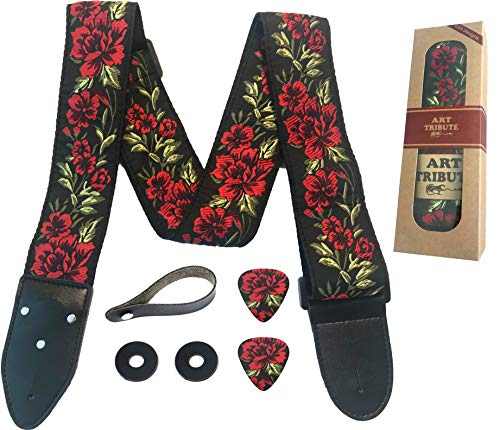 Epiphone Electric Guitar Straps - Guitar Strap Cotton Flower Roses W/FREE BONUS- 2 Picks + Strap Locks + Strap Button. For Bass, Electric & Acoustic Guitars. The Best Guitarist Gift By Art Tribute LIFE TIME WARRANTY