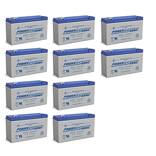 Power-Sonic PS-6100 6V 12AH DEEP-Cycle Rechargeable SLA Energy Storage Battery - 10 Pack