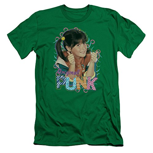 Punky Brewster Original Punk Slim Fit Unisex Adult T Shirt for Men and Women, Large Kelly Green -