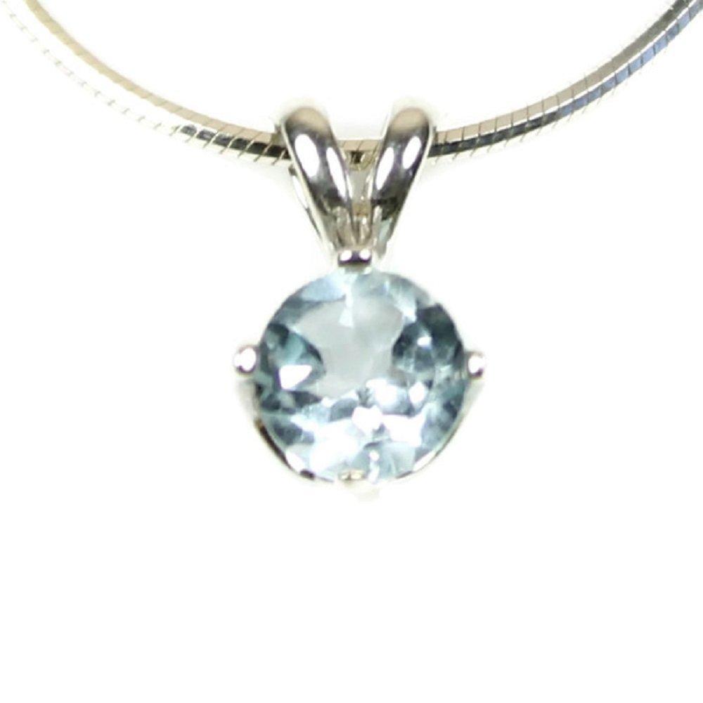 Sky Blue Topaz Gemstone Sparkling Sterling Silver Pendant Chain