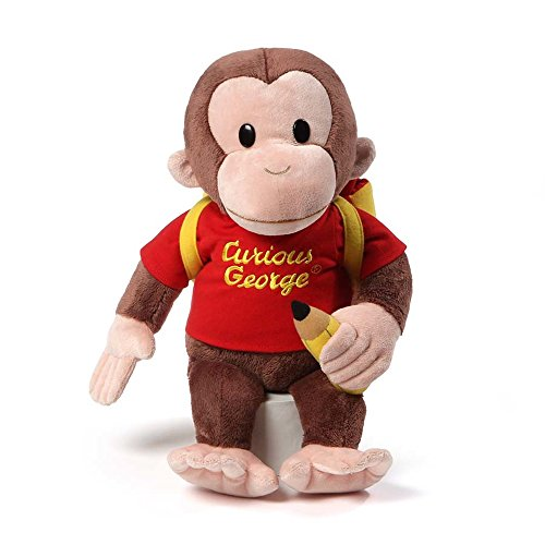 (GUND Curious George Back To School Backpack Stuffed Animal Plush, 16