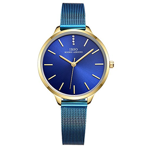 IBSO Female Watches Leather Strap Round Case Analog Fashion Women Watch on Sale (6603-Blue-SS)